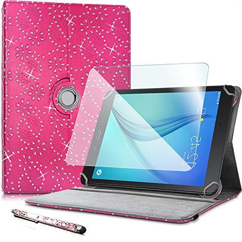 Karylax - Funda de protección para Archos Core 101 3G V2 (incluye protector de pantalla de cristal flexible y lápiz capacitivo), diseño de diamantes, color rosa