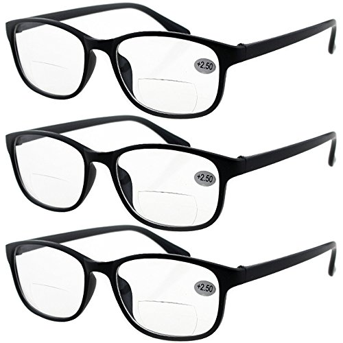 Lasree 3 PRS +2.00 Classic Style Bifocals Reading Glasses Mens Womens Spectacles Frames Readers Office Home Eyeglasses