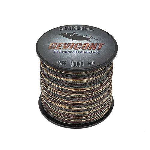 GEVICONT Fishing Line Braid High Sensitivity Long line Fishing Pe 4 Strand 300 M/328 Yd 500 M/547 Yd 1000 M/1094 Yd 10LB-100LB Multiple Colors Available for Shark Fishing
