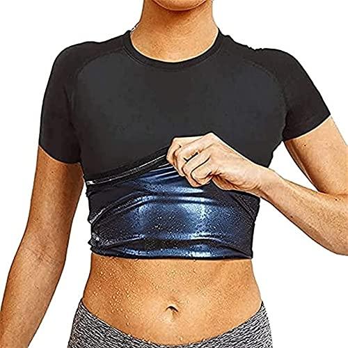 Sauna Sweat Vest Corset Entrenador De Cintura Body Top Shapewear Camiseta Adelgazante Mangas Cortas Traje De Entrenamiento Control De Barriga Para Hombres Mujeres ( Color : Women , Size : XX-Large )
