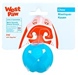 West Paw Zogoflex Jive Ball Dog Chew Toy – Bouncing Toys for Dogs, Fetch, Catch, Chewing, Play – Floatable, Recyclable Balls – Latex-Free, Non-Toxic, Dishwasher Safe Dog Toy, 2-Inch, Aqua