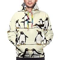 面白いペンギンファミリー トレーナー パーカー メンズ アクティブウェア ファッション コート トレーニング フード付き 長袖 春秋冬 人気 贈り物