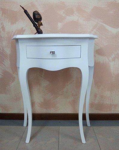 Bois & Design Console Table entrée 1 tiroir Blanche profilée provençal avec Swarovski