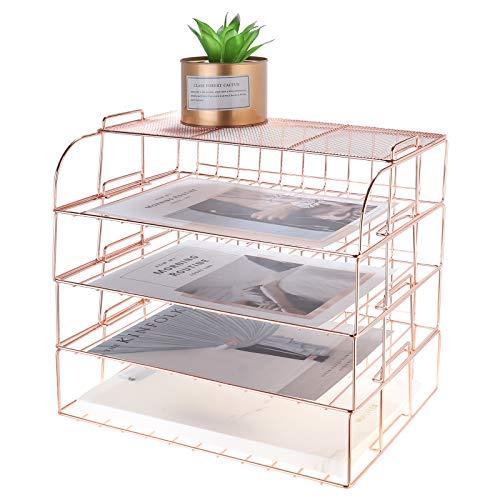 MORIGEM 4-Tier Stackable Letter Tray, Rose Gold Desk Organiser, Metal File Organiser Tray, Paper Holder Rack, Desk Accessories for School Home Office Supplies