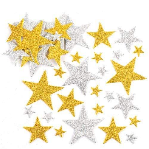 Baker Ross Adesivi Stelle Glitterate Oro e Argento per Bambini, Perfetti per Creazioni Fai da Te  (Confezione da 150)