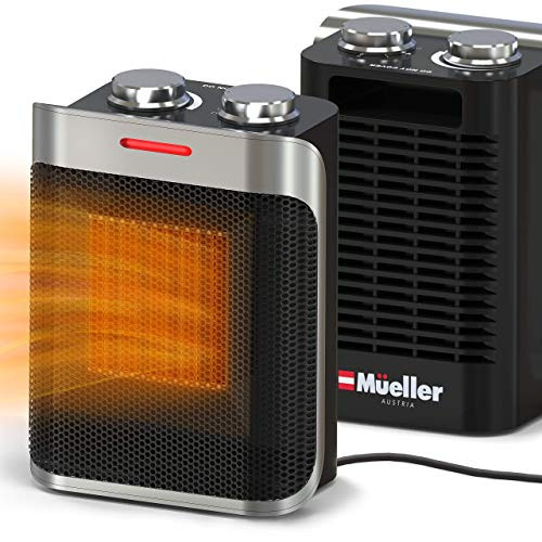 Mueller Portable Space Ceramic Heater 750W 1500W, High Output Fan, Adjustable Thermostat, with overheat tip over protection for Home Bedroom or Office, ETL Certified