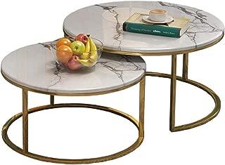 LAMXF Tavolino Basso da Salotto Mid-Century per Soggiorno Tavolini da Salotto per Piccoli spazi Grande Piccolo Top in Legno con Montatura in Metallo Bianco Oro