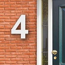 Huisnummer Acryl wit, cijfer 4 Hoogte 16cm