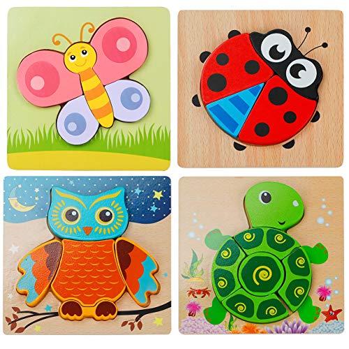 4 puzles de madera 3D para niños con bonitos diseños de animales.