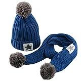 QinMM Infantil bebé Sombrero y Bufandas de Punto otoño Invierno niños niñas Beanie Gorras Conjunto