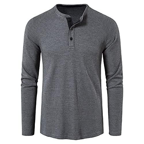 Camiseta de manga larga para hombre, cuello redondo, manga larga para primavera y otoño, monocolor, corte...