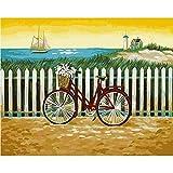 Pintura por Números para Adultos Navegación en bicicleta DIY Pintar por Numeros para Niños Pintura al óleo Kit con Pinceles Pinturas 40 x 50cm Sin marco