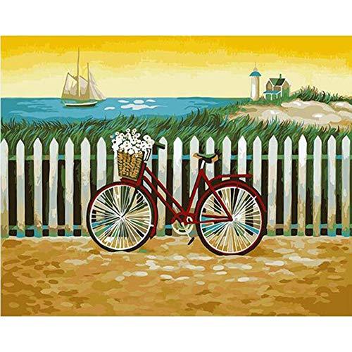 ZHIYYQ Cijfers DIY fiets zee landschap afbeelding decoratie huis decoratie 40x50cm Geen frame.