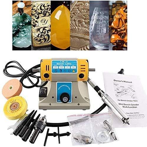 S SMAUTOP Máquina pulidora TM-2 220V 350W Amoladora eléctrica Máquina pulidora para joyería Torno dental Motor para pulir, Pulidora de Joyas Esmeriladora de Banco Herramienta de grabado de bricolaje