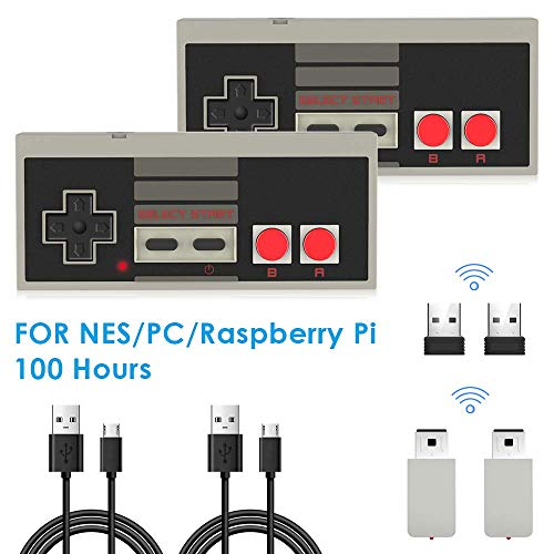 2 Stücke NES Wireless Controller für Nintendo Classic Mini, AGPTEK 2.4G Wireless Game Controller für NES und PC für NES Classic Gaming System Console, kompatibal mit Nintendo Entertainment System