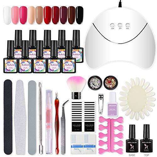 Shelloloh nagellak UV-gel set met 36W UV LED-lamp 10 kleuren gel nagel kleuren nagelontwerp UV-nagellak manicure set nagelstudio set