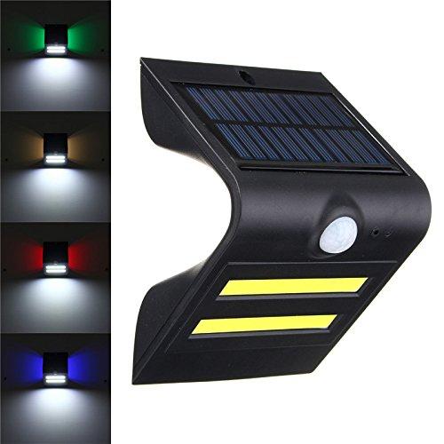 Jiguoor LED à énergie solaire détecteur de mouvement PIR Applique murale extérieur étanche d'économie d'énergie Street Yard Path Home Garden Sécurité lampe LED COB