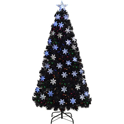 WeRChristmas Pre-Lit Fibre Optic Christmas Tree with Tree Topper and Snowflakes, Black, 6 feet/1.8 m