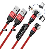 IVS 2pack Cable Magnetico 3 en 1 - Cable USB Magnetico Carga Rapida - Cable de Carga Magnetico - Cargador con iman Tipo c - Cargador iman Compatible con iPhone - Cable Magnetico Micro USB LED - Rojo