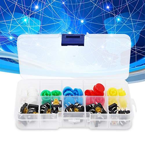 con Tact Cap Kit de surtido de Tact momentáneo Interruptor de botón táctil 50mA 12VDC 5 colores Microinterruptor Botón Interruptor de botón táctil momentáneo para PCB