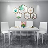 Hooseng Dining Table Set for 4-Faux Marble Table Top,with 4 PU Leather Metal Chairs,for Home,Dinette,Kitchen&Dining Room,White