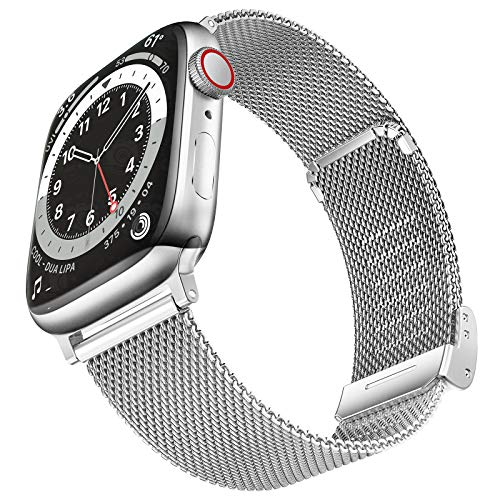 Geoumy Bands Compatible with Apple Watch Band 38mm 40mm 41mm,Stainless Steel Milanese Mesh Loop Replacement Men Women Strap for iWatch Series SE/7/6/5/4/3/2/1,Silver