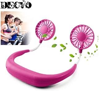 Hand Free Personal Fan - Portable USB Battery Rechargeable Mini Fan - Headphone Design Wearable Neckband Fan Necklance Fan Cooler Fan with Dual Wind Head for Traveling Outdoor Office Room Pink
