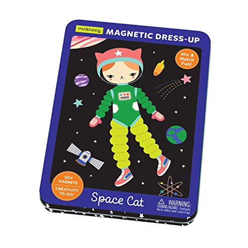 Mudpuppy Space Cat Magnetic Tin – Includes 3 Sheet of Mix & Match Dress Up Magnets and 2...