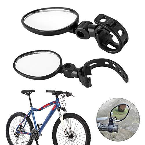 Forever Speed Specchietti Bici, [2 Pezzi] Universale Bici Specchietto Regolabile Girevole Manubrio Montato Specchio Convesso in plastica per Mountain Road Bike