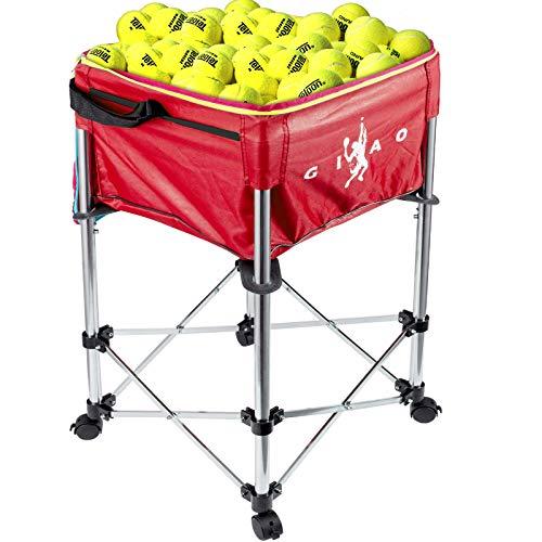 AnComo Carrello Tennis capacità 160 Palline 20kg Carrello per Palline Carrello per Palline da Tennis Cestino per Palline con Ruote con Borsa Rossa