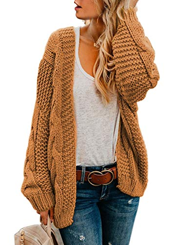 Dokotoo Womens Open Front Casual Long Sleeve Cable Knit Chunky Cozy Ribbed Winter Sweater Oversized Fashion 2021 Loose Cardigans Coats Jackets Outerwear Brown Large