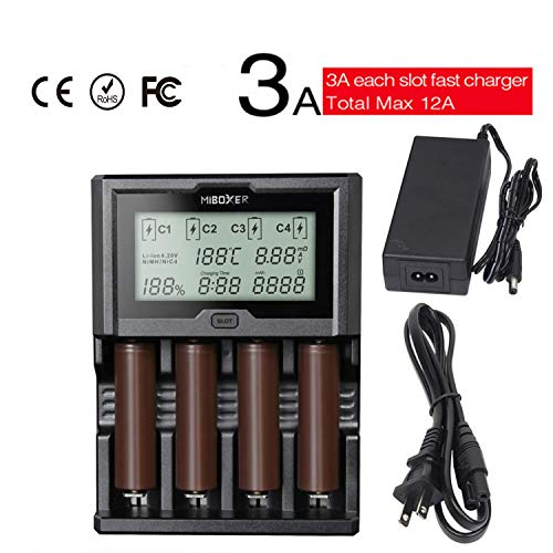 18650 Rapid Charger 3A Miboxer C4-12 4 Bay AAA AA Battery Charger 18650 for NiMH NiCd AA AAA C D Cell 26650 18490 RCR123