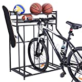 Mythinglogic Bike Rack for Garage, 3 Bike Bicycle Floor Parking Stands for Garage, Bike Rack with Storage, Free Standing Bike Rack for Adult or Kids Bike