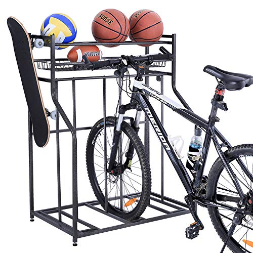 Mythinglogic Garage Bike Rack Storage Organizer,3 Bike Floor Parking Stand for Garage Organizer, Bicycle Storage Rack for Garage, Free Standing Bike Rack for Adult or Kids Bike (Black)