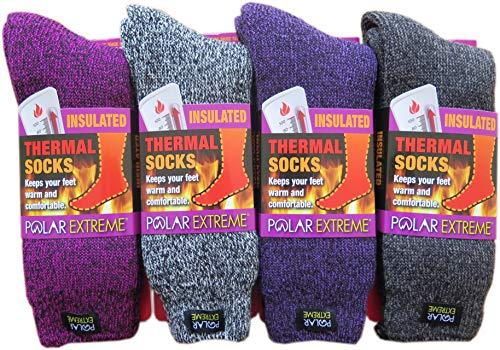 Polar Extreme Thermal Sock Extra Heavy Acrylic Winter Marled Socks 2-Packs Random Colors
