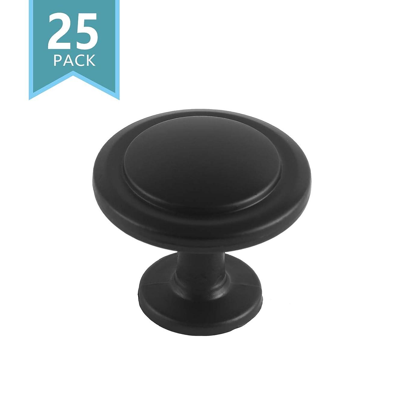 SMART ONYE Black Zinc Alloy Kitchen Cabinet Knobs-1-1/4