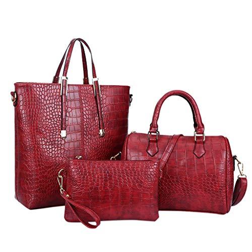 3pcs Womens Alligator Bag, Shopping Daily Satchels Handbag Leather Shoulder Messenger Bag Cosmetic Phone Coin Purse Clutch (Red)