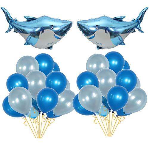 Allinlove Ozean Meerestiere Thema Baby Shower Kinder Geburtstag Party Dekoration Haifisch Luftballons Shark Mylar Folienballons Blau Latex Luftballon Set Geburtstagsfeier Hai Splash Party Deko