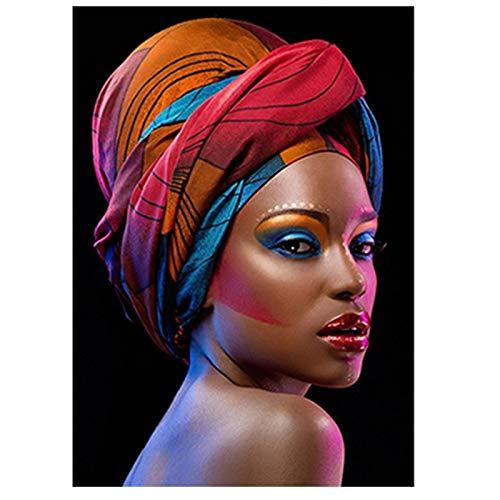 BGFDV Hermosa Mujer de Arte Africano con Labios Bonitos Negros, Pintura al óleo sobre Lienzo, póster, Impresiones, Imagen artística en la Pared, decoración de la Sala de Estar