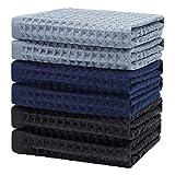 KWLET Strofinacci Cucina Cotone Canovacci Asciugapiatti Stracci Towel Asciugamani Cucina Confezione da 6 34 x 34 cm Blu Navy Grigio