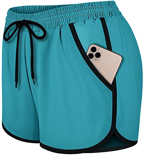Fulbelle Exercise Shorts for Women, Teen Girls Summer Casual Elastic Waistband 2020 Fashion Workout Athletic Running Gym Yoga Short with Liner Juniors Sports Lounge Pants Dark Cyan S