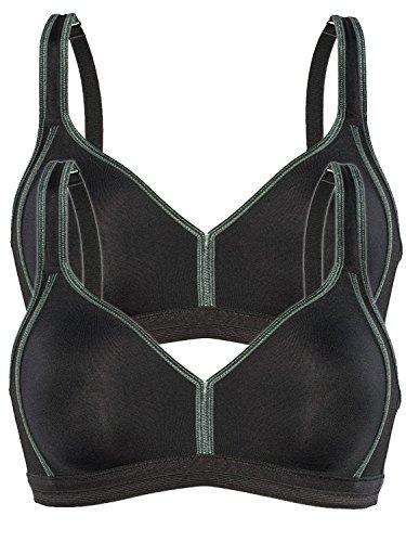 Sassa 2er Sparpack Sport-BH ohne Bügel 10880 = 70-C in schwarz-schwarz