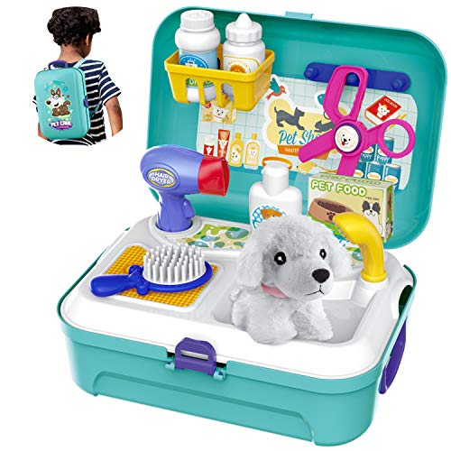 HERSITY Vet Toy Pet Care Kit Role Play Set Grooming Feeding Dog Animal Games...
