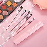 Fanxp Pink Marble 5Pcs Travel Portable Eye Shadow Brush Set Makeup Brush, Makeup Tools Eye Beauty Eyeshadow Makeup Brush