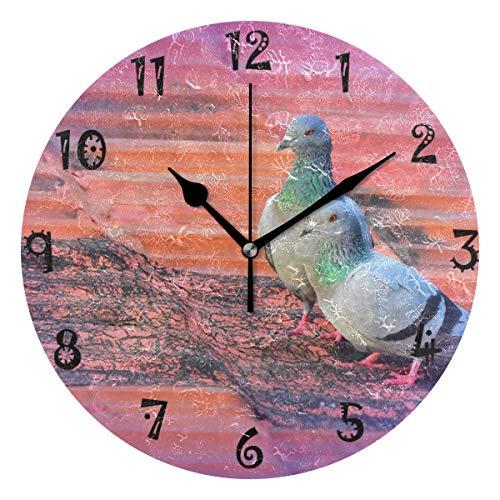 LDIYEU Paloma Púrpura Reloj de Pared Silencioso Decorativo Madera Vintage Relojs para Niños Niñas Cocina Dormitorio Hogar Oficina Escuela Decoración