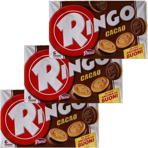 3x Pavesi Ringo Kekse Cacao 'Kakao', 330 g