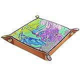 LXYDD Caja de Almacenamiento Multiusos con Bandeja Valet de Cuero Organizador de bandejas Se Utiliza para almacenar pequeños Accesorios,Sirena con Pelo Largo Rosa bajo el Agua