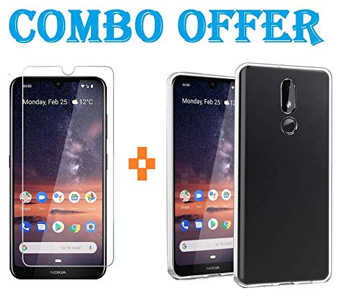 AONIR® Transparent Back Case Combo Pack with 9H Tempered Glass for Nokia 3.2 (2019)