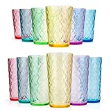 Mixed Drinkware Sets, 15-ounce and 21-ounce Acrylic Glasses Plastic Tumbler with Rhombus Design, set...