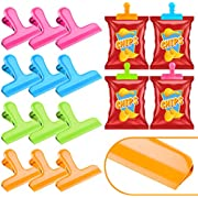 Whaline 12 Pack Stainless Steel Chip Bag Clips in 4 Colors, Round Edge Food Clips, Heavy Duty Storage Bag Clips, Air Tight Seal Grip Perfect for Office Kitchen Home Usage Storage